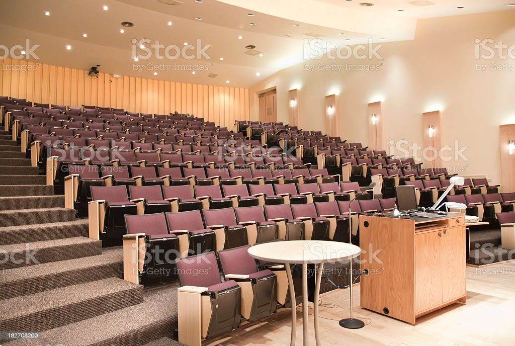 View from the stage of an empty lecture hall royalty free stockfoto