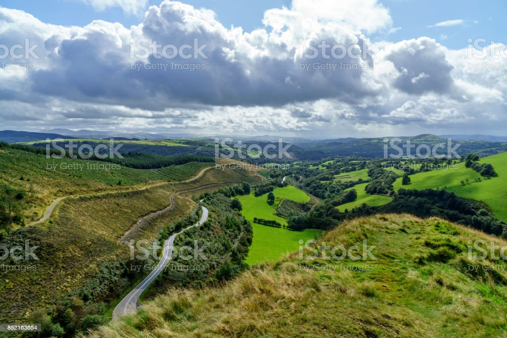 View from the Sugar Loaf in South Wales stock photo