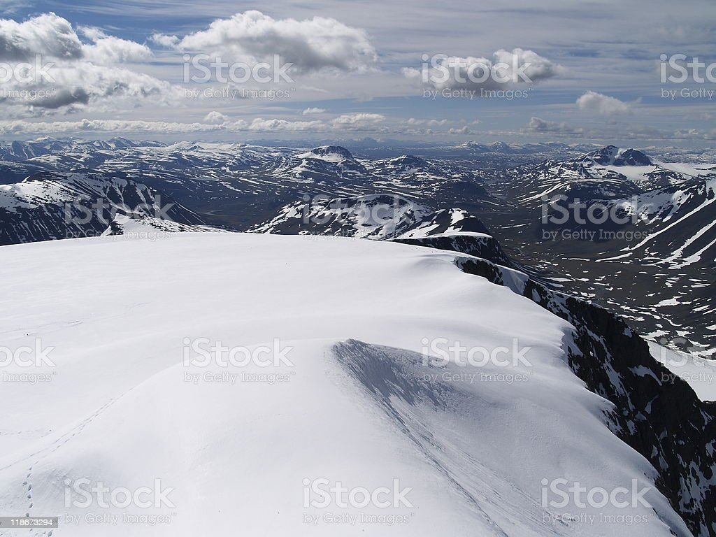View from the summit of Kebnekaise stock photo