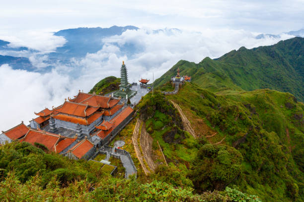 View from the summit of the Fansipan Mountain, Sapa, Vietnam stock photo