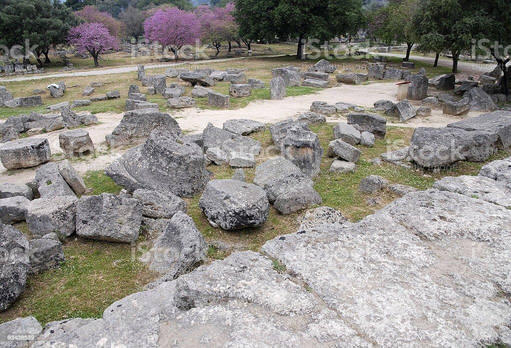 Blick von den Tempel des Zeus im antiken Olympia Lizenzfreies stock-foto