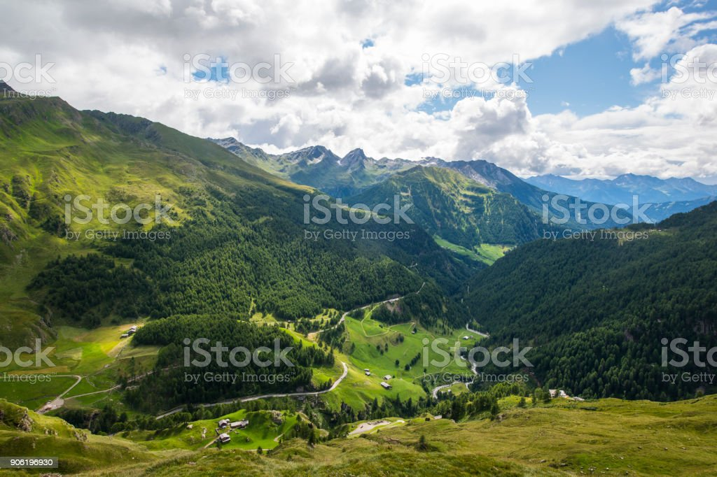 View from the Timmelsjoch into Passeier Valley, Italy stock photo