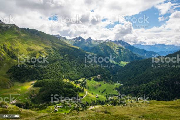 View from the Timmelsjoch into Passeier Valley, Italy. The Timmelsjoch mountain pass is the border between Austrian and Italy, the Italien name is Passo del Rombo. With an elevation of 2,474 metres (8,117 ft)  the highest passroad in the Eastern Alps. The pass is used since the early Stone Age and is still an important link through the Oetztal Alps along the border between Austria and Italy.