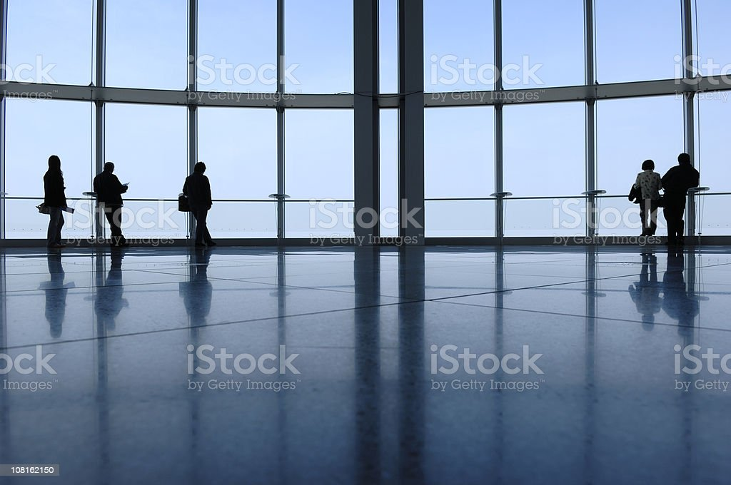 View from the top. 5 lonely people. Tokyo stock photo