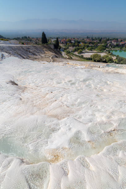 View from the top of a Pamukkale pool stock photo