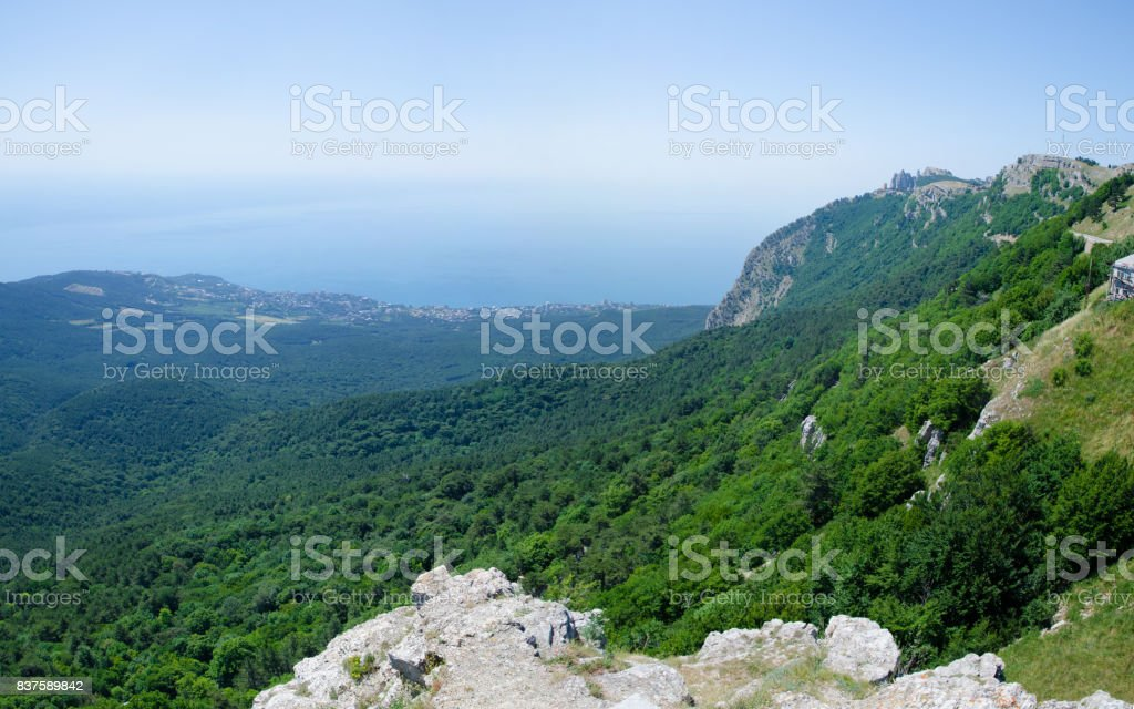 View from the top of Ai-Petri mountain at the seaside of Black Sea, Crimea stock photo