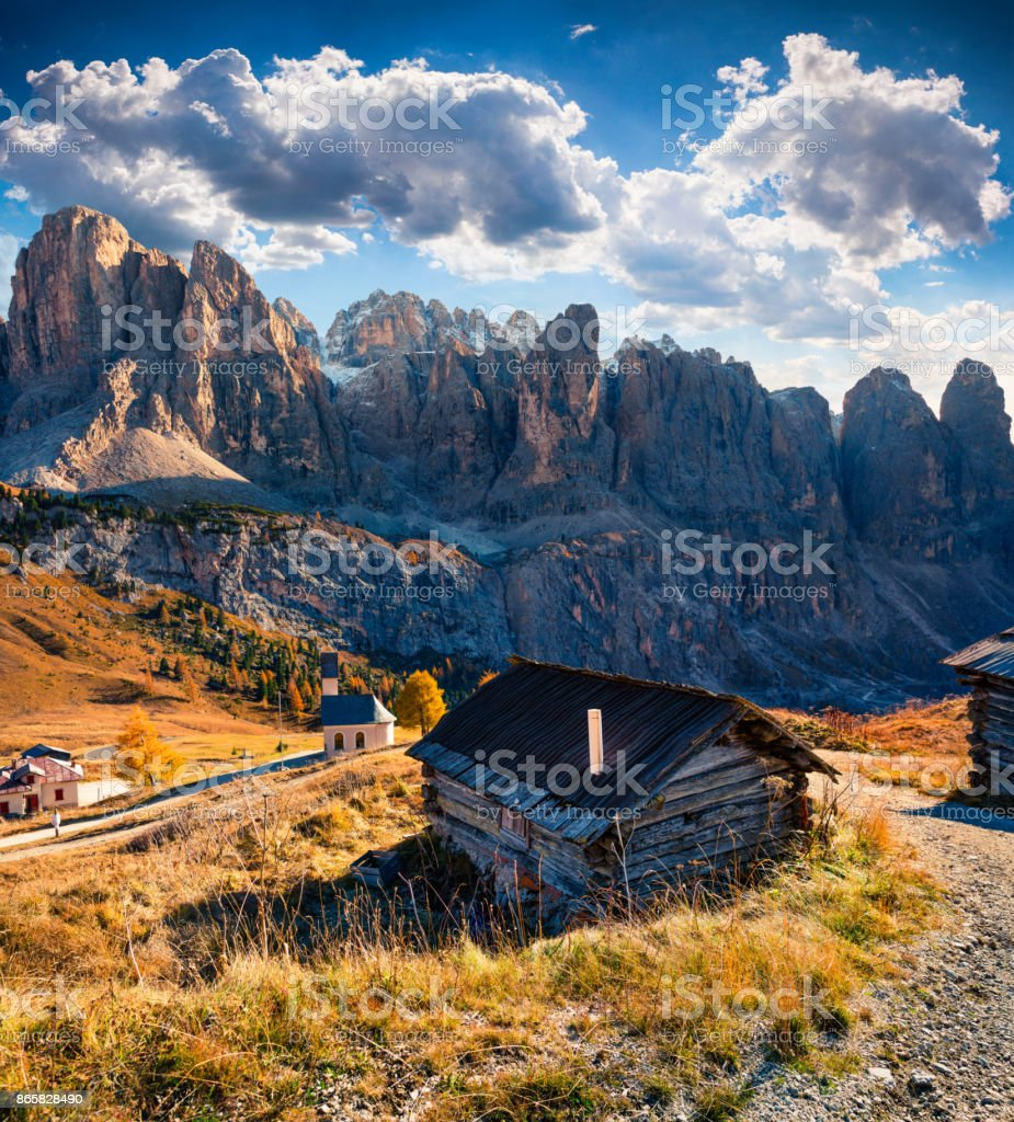 View from the top of Gardena pass with Piz Boe mountain on background stock photo