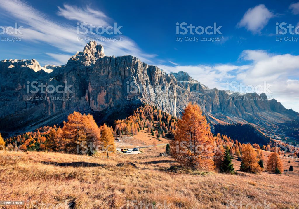 View from the top of Gardena pass with Piz Boe mountain on background. stock photo