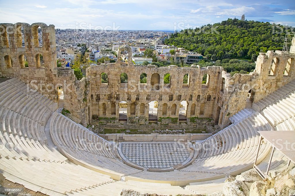 View from the top of Odeon of Herodes Atticus stock photo