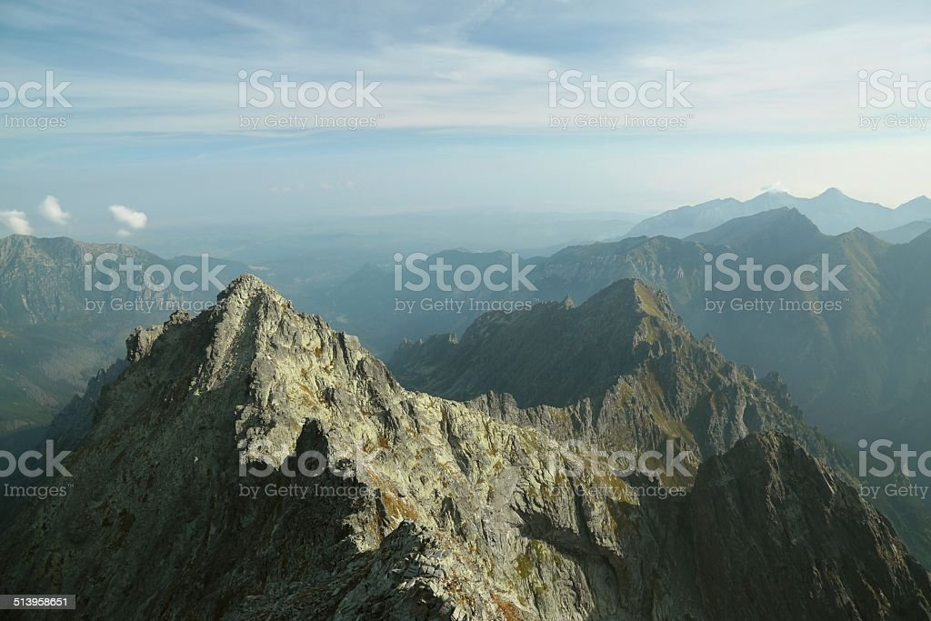 View from the top of Rysy in the Tatra Mountains stock photo
