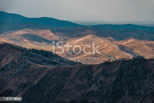 View from the top of ski Manzherok ski resort.