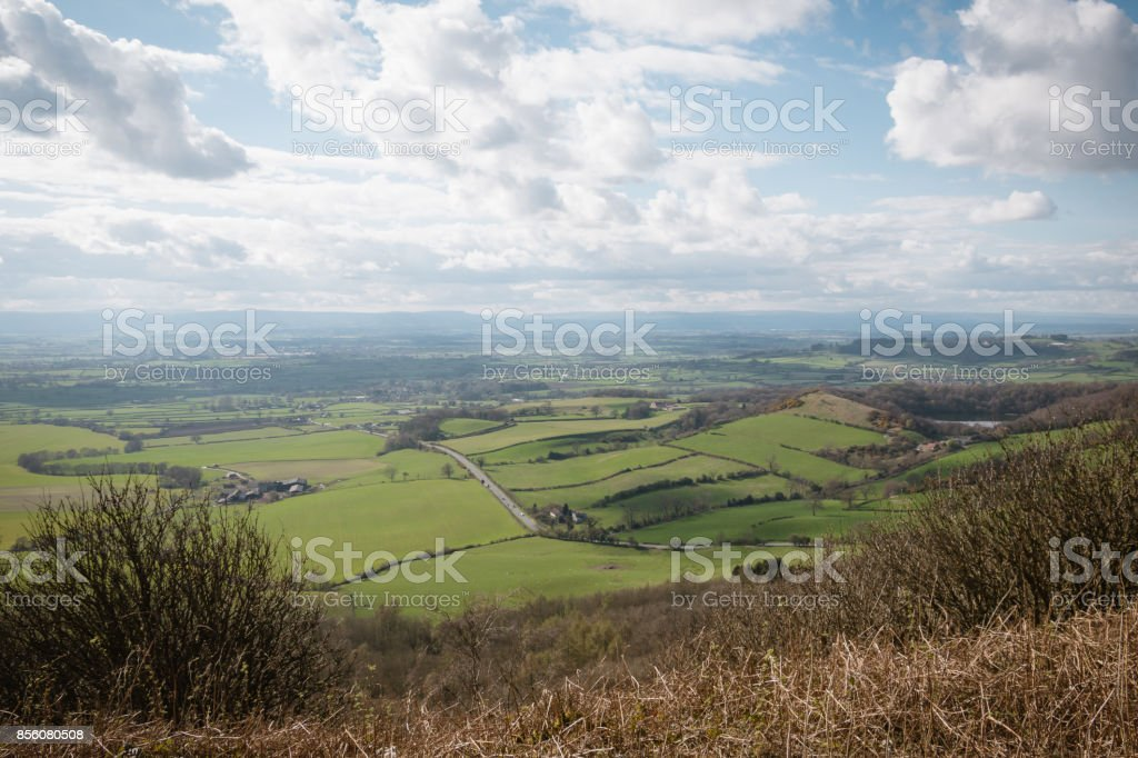 A view from the top of Sutton Bank, North York Moors, Yorkshire, England stock photo