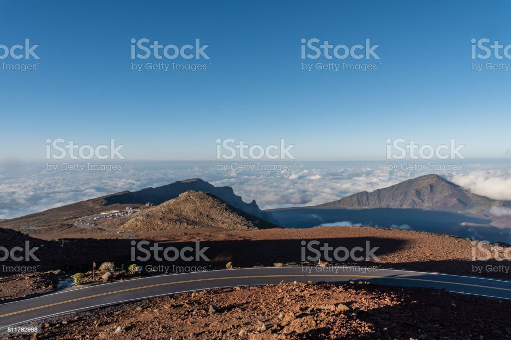 View from the top of the Haleakala volcano crater on Maui stock photo