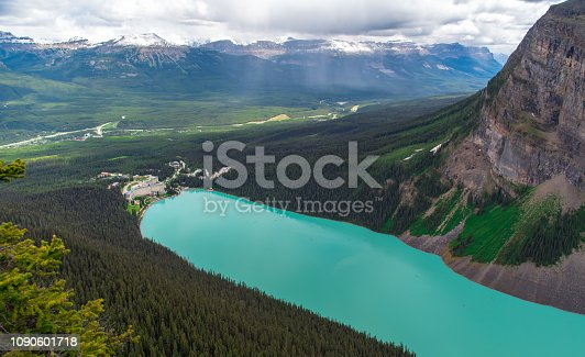 istock View from the top of the mountain of hotel with turquoise color at Lake Louise in Alberta, Canada 1090601718
