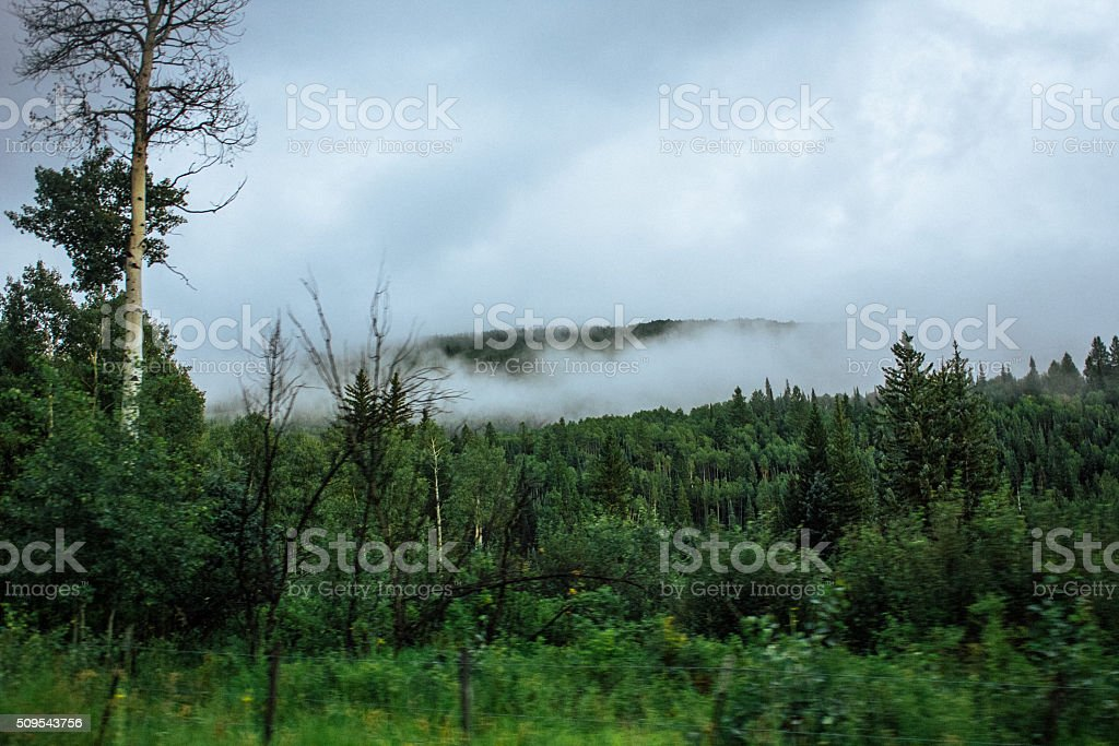 View from the top of the Rocky Mountains stock photo