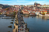 istock View from the tower on pandemonium in the Charles bridge. 629434594