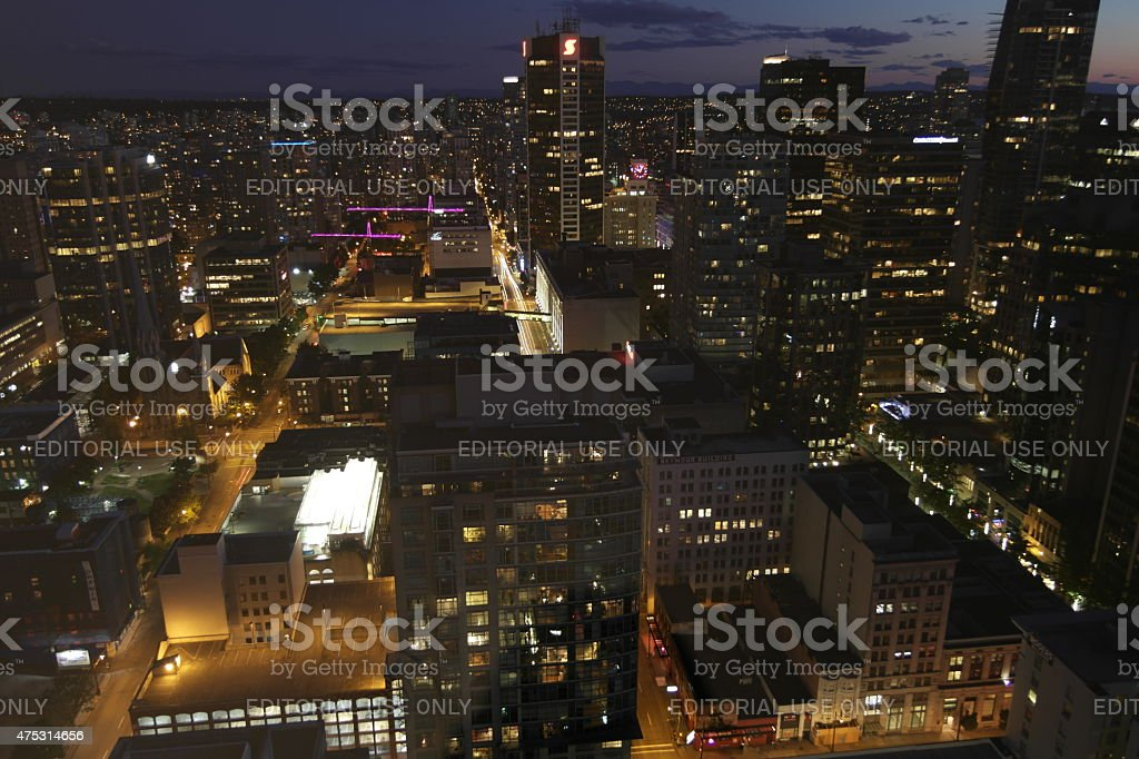 View from the Vancouver Lookout at night stock photo