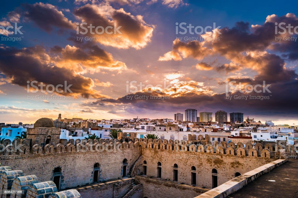 View from the walls of the fortress of Ribat of Sousse in Tunisia