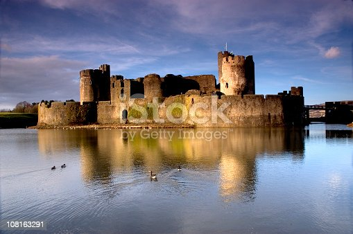 Caerphilly Castle, and reflection in the moat.