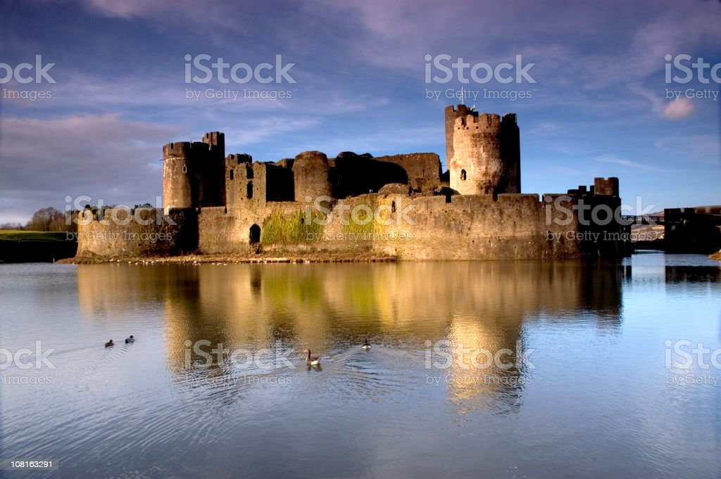 View from the water of Caerphilly Castle stock photo