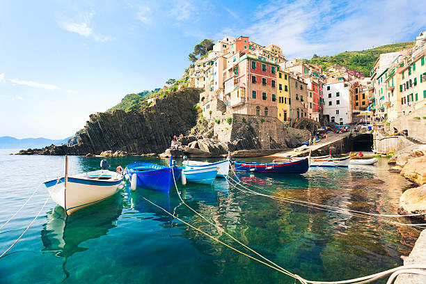 A view from the water of Riomaggiore, Cinque Terre stock photo