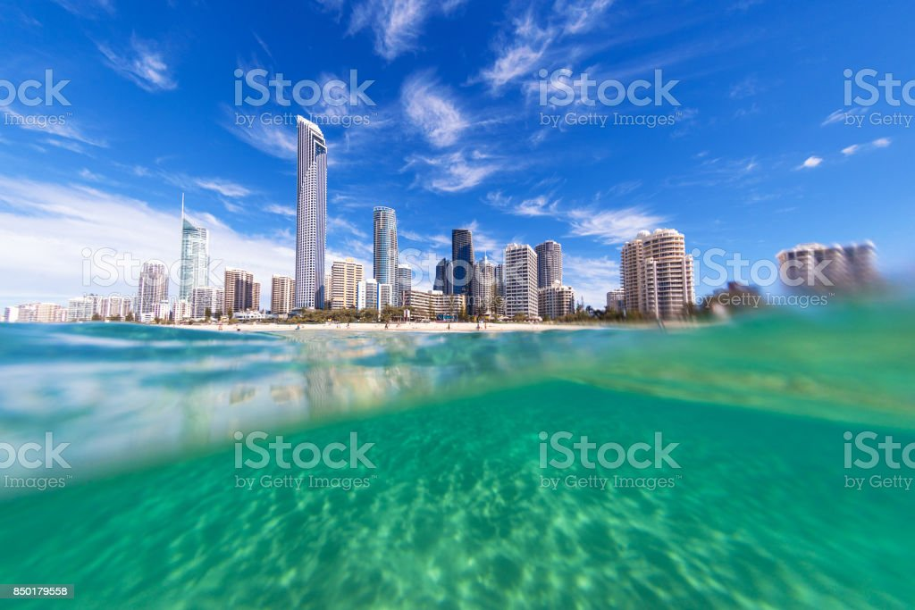 View from the water of Surfers Paradise on the Gold Coast stock photo