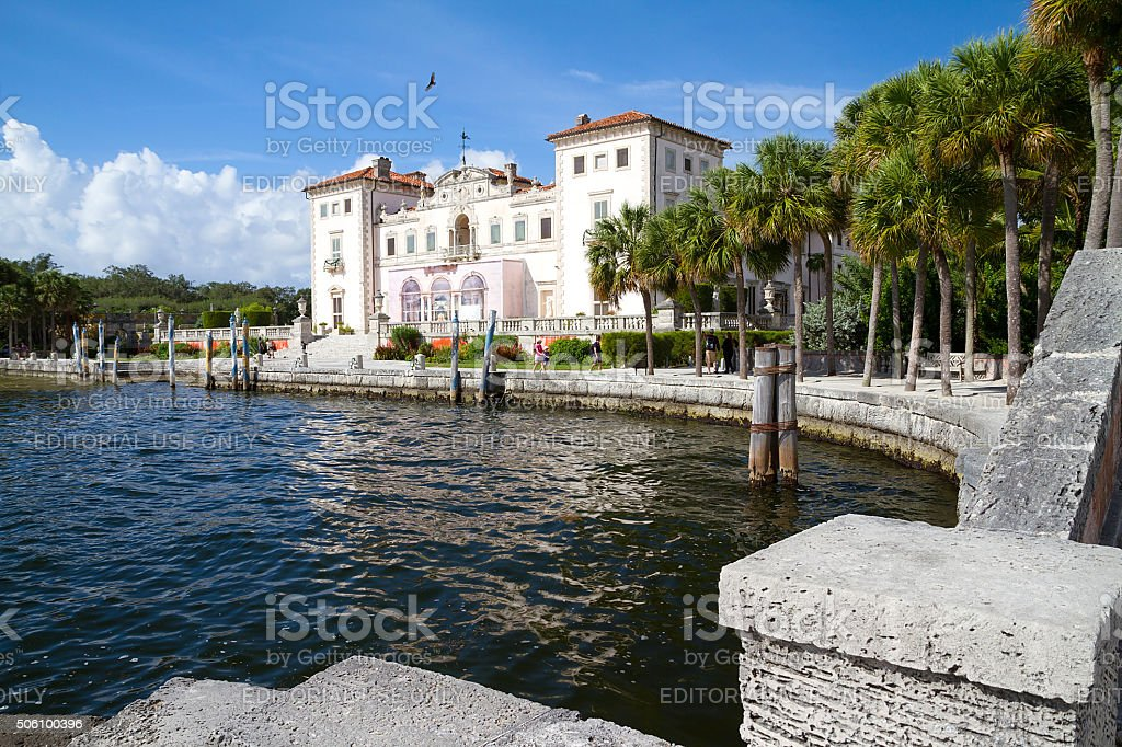 View from the water's edge, Vizcaya Museum and Gardens stock photo