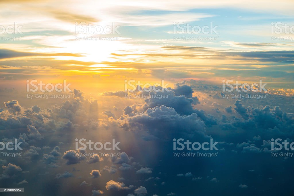 view from the window of an airplane stock photo