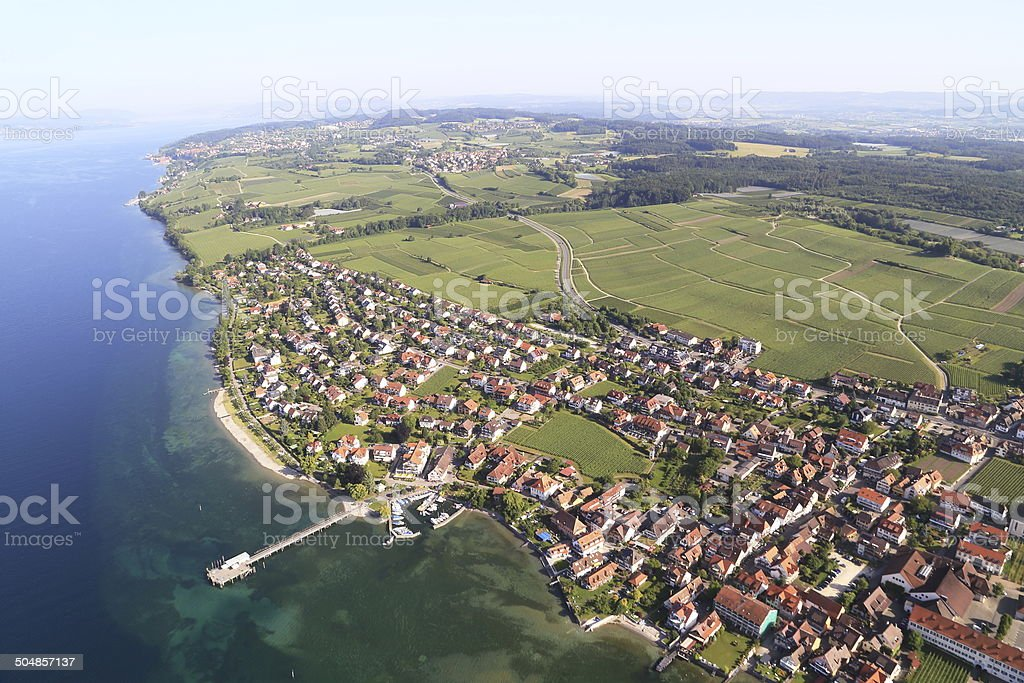 View from the Zeppelin to Hagnau - Lake Constance/Germany stock photo