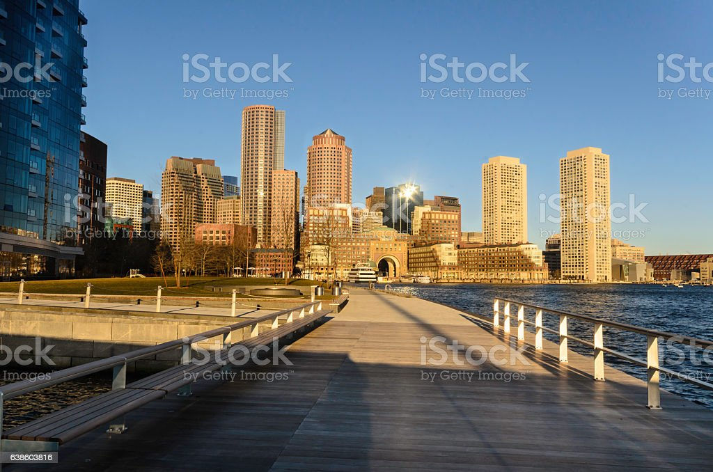 View from tidal well on Fan Pier stock photo