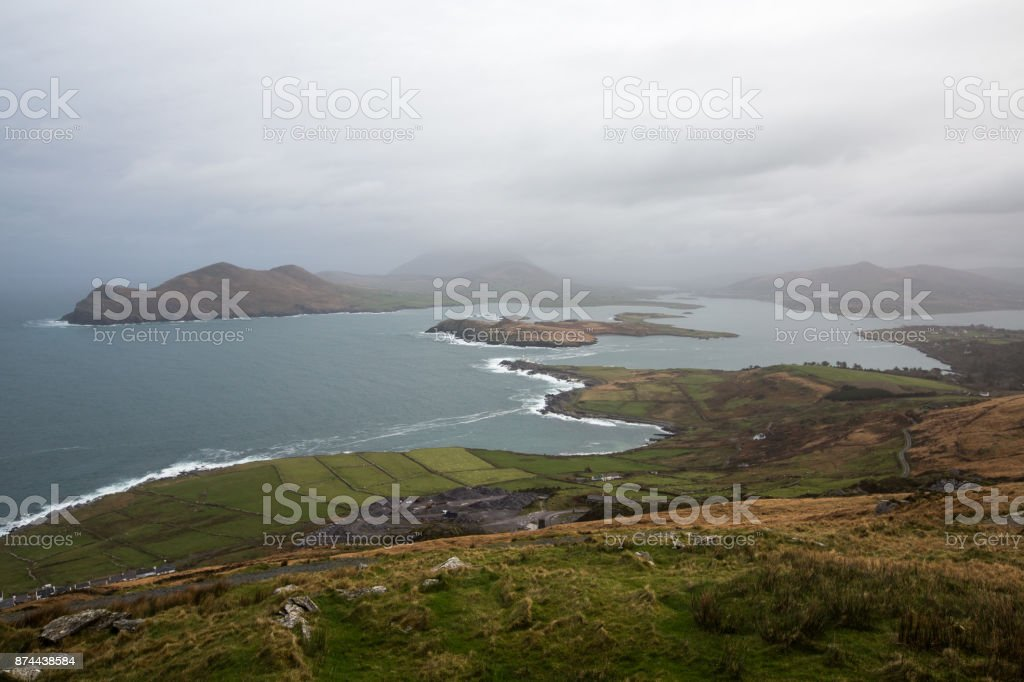 View from top of Geokaun Mountain, Co Kerry stock photo