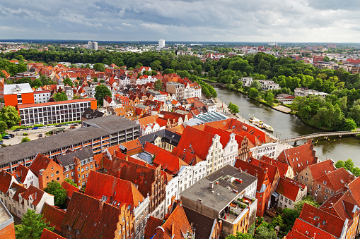View from top of German city of Lubeck