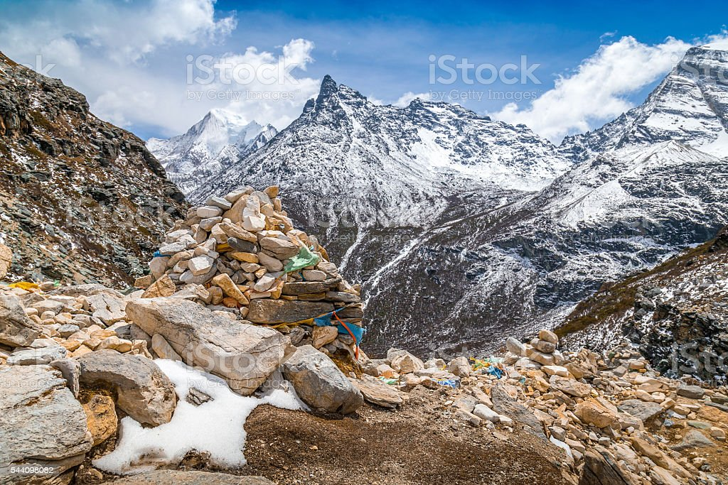 view from top of mountain snow peak stock photo
