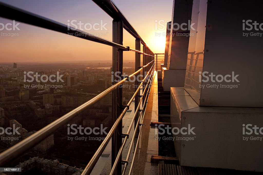 View from top of skyscraper at sunset royalty-free stock photo