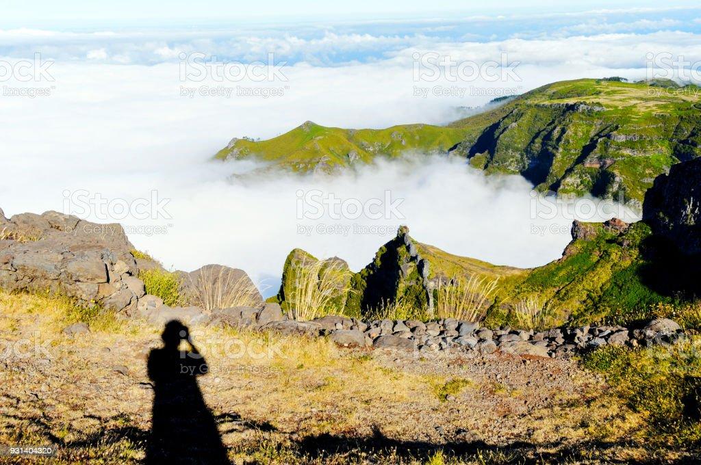 View from top of the Pico do Arieiro, Madeira Island,Portugal stock photo