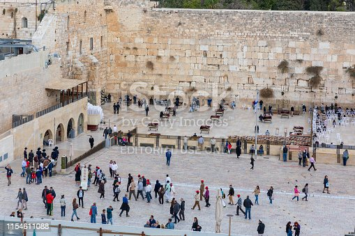Jerusalem, Israel - Dec 01, 2018:  View from top on people near Wailing Wall the from top observation deck