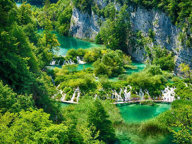 blick von oben auf den nationalpark plitvicer lake national park - nationalpark plitvicer seen stock-fotos und bilder