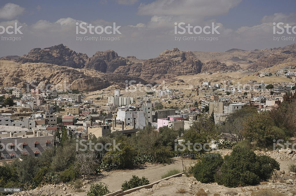 View from town to archeological site Petra royalty-free stock photo