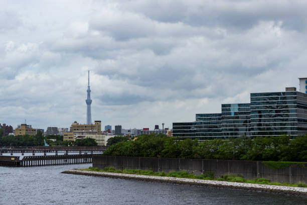 View from Toyosu canal Sumida River side4 stock photo