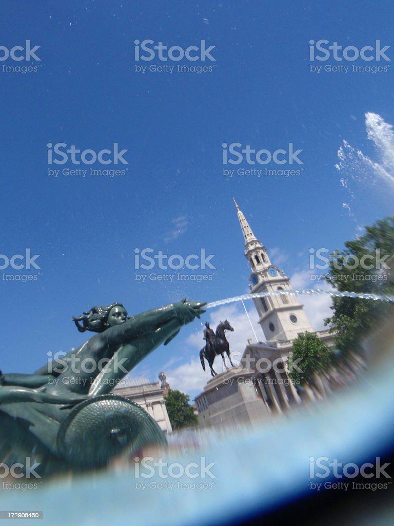 View from Trafalgar Square Fountain Underwater stock photo