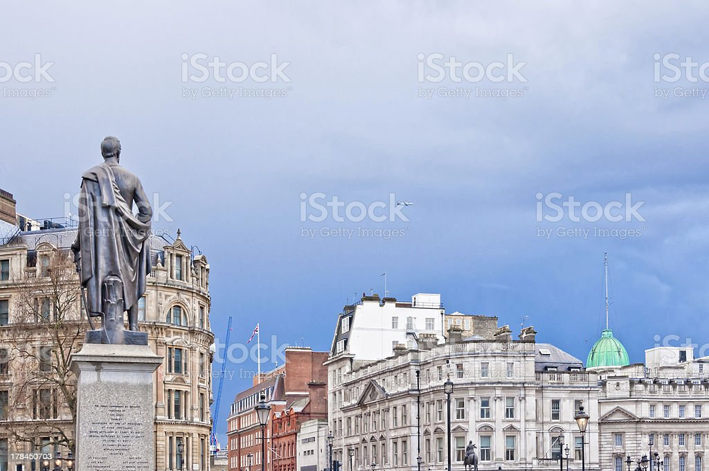 view from Trafalgar Square with Havelock statue royalty-free stock photo