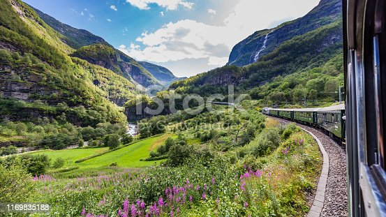 View from the most beautiful train journey Flamsbana between Flam and Myrdal in Aurland in Western Norway