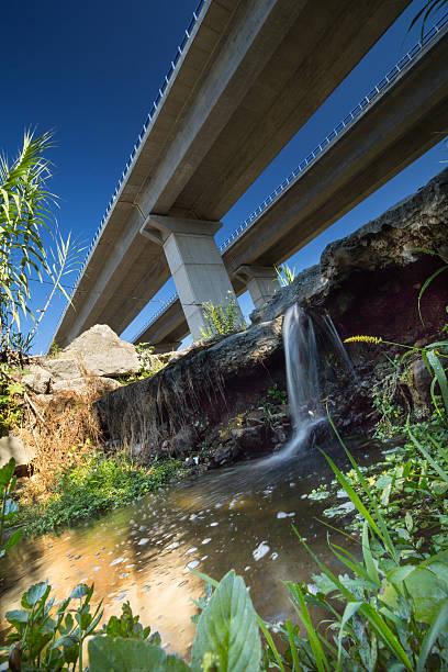 Cтоковое фото Вид снизу по автостраде и Водопад