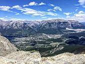 A view from up above of the beautiful town of Canmore, nestled in a valley in the Rocky Mountain range.  The aerial view is from the top of Ha Ling Peak, in Banff National Park, Alberta, Canada.