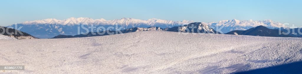 view from Velka Fatra mountains to High Tatras mountains stock photo