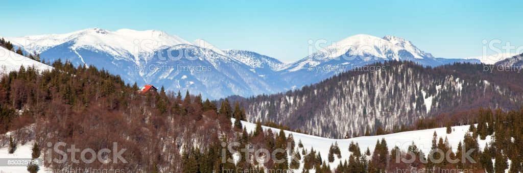 View from Velka Fatra mountains to Mala Fatra mountains stock photo