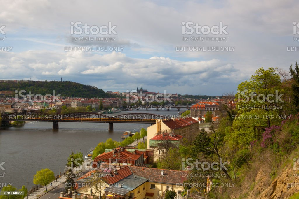 View from Vysehrad after rain. stock photo