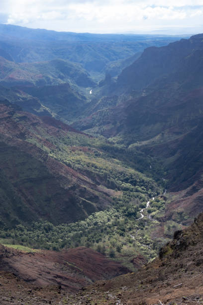 View from Waimea Canyon Lookout to the Ocean stock photo