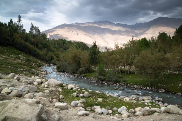 View from Wakhan Corridor in Afghanistan to Tajikistan Wakhan valley behind the Wakhan river. stock photo