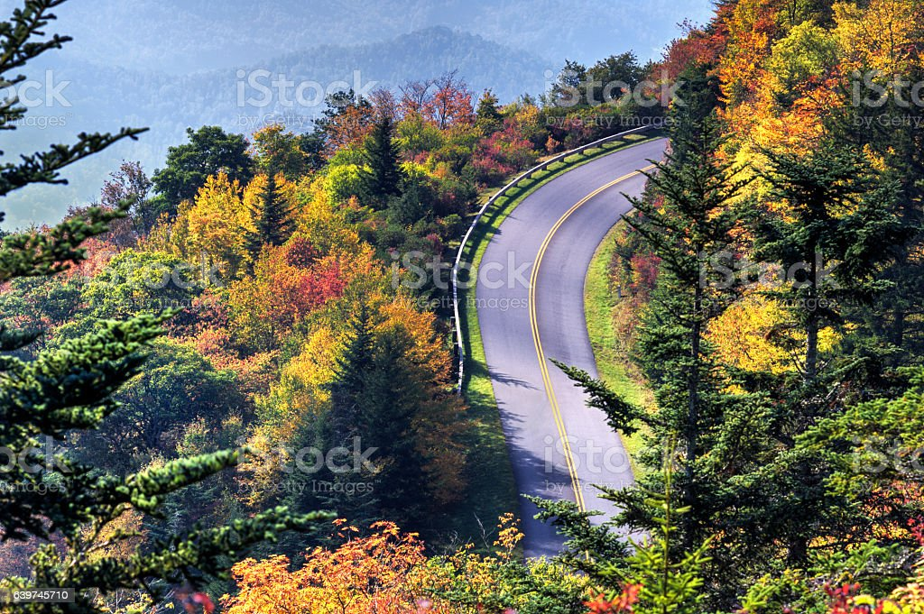 View from Waterrock Knob on Blue Ridge Parkway in Autumn stock photo